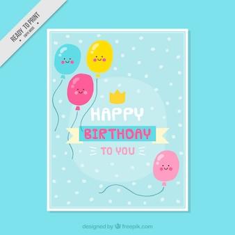 Verjaardagskaart met de hand getekende mooie ballonnen