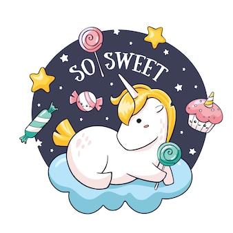 Verjaardagskaart met doodle eenhoorn op wolk met lollipop