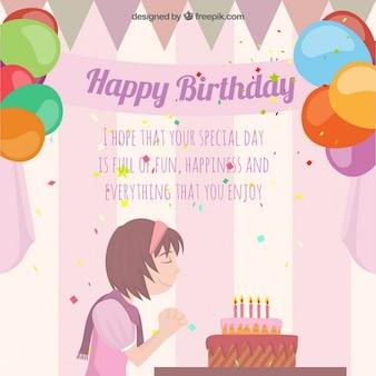 Verjaardagskaart met een meisje het maken van een wens