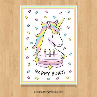 Verjaardagskaart met eenhoorn en cake