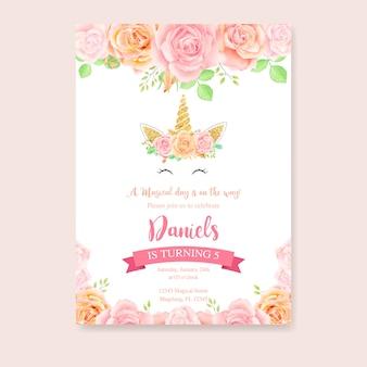 Verjaardagskaart met eenhoorn en roze bloemen