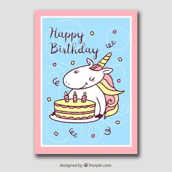 Verjaardagskaart met eenhoorn, taart en confetti