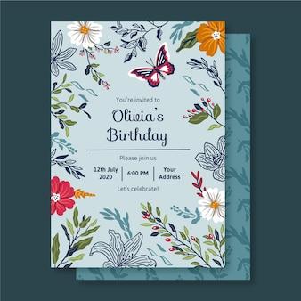 Verjaardagskaart met florale ornamenten