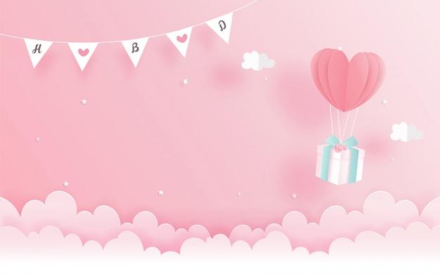 Verjaardagskaart met geschenkdoos en hart ballon in papier gesneden stijl. vector illustratie