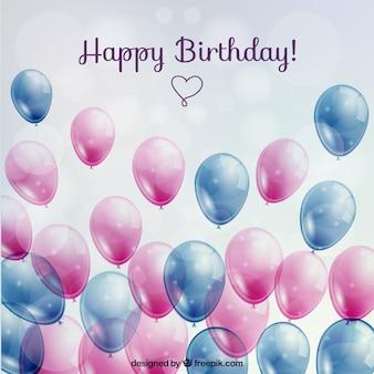 Verjaardagskaart met glanzende ballonnen