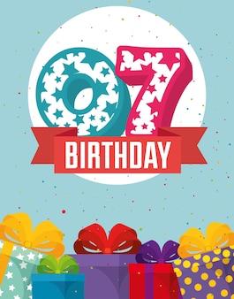Verjaardagskaart met kaars nummer zeven