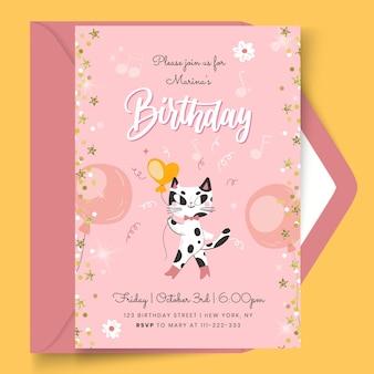 Verjaardagskaart met kat sjabloon Gratis Vector