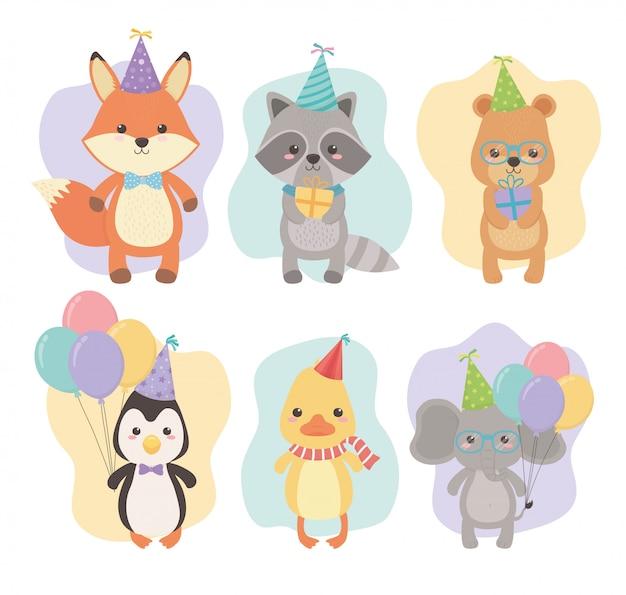 Verjaardagskaart met kleine dieren tekens