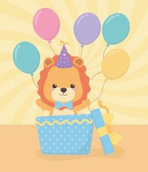 Verjaardagskaart met kleine leeuwenkarakter
