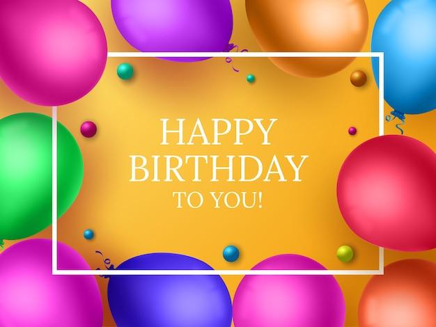 Verjaardagskaart met kleurrijke ballonnen