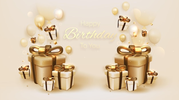 Verjaardagskaart met luxe ballonnen en lint, geschenkdoos 3d-stijl realistisch op crème schaduw achtergrond. vectorillustratie voor ontwerp.