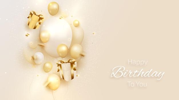 Verjaardagskaart met luxe ballonnen en lint, geschenkdoos 3d-stijl realistisch op crèmekleurige tint