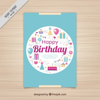 Verjaardagskaart met platte elementen