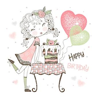 Verjaardagskaart met schattig meisje met cake en ballonnen.