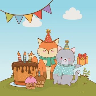 Verjaardagskaart met schattige dieren bos