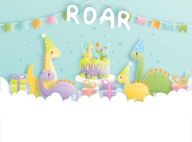 Verjaardagskaart met schattige dinosaurus en geschenkdozen.