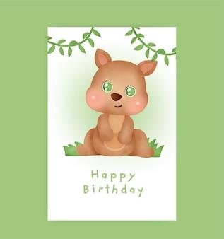 Verjaardagskaart met schattige kangoeroe in aquarelstijl