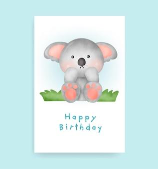 Verjaardagskaart met schattige koala in aquarelstijl