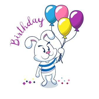 Verjaardagskaart met schattige konijn bedrijf ballonnen