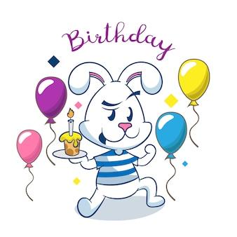Verjaardagskaart met schattige konijn