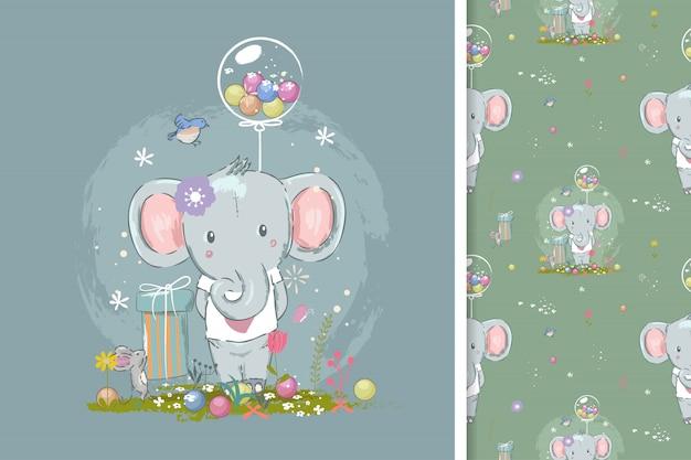 Verjaardagskaart met schattige olifant en naadloos patroon