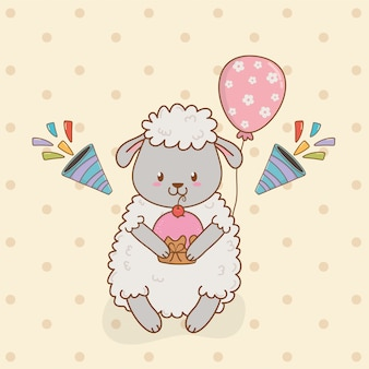 Verjaardagskaart met schattige schapen bos