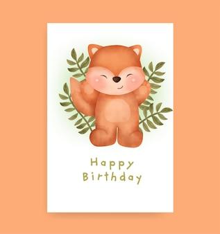 Verjaardagskaart met schattige vos in aquarelstijl