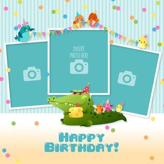 Verjaardagskaart met sjablonen voor foto's