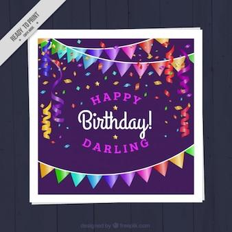 Verjaardagskaart met slingers