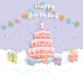 Verjaardagskaart met taart en geschenkdozen.