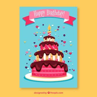 Verjaardagskaart met taart in de hand getrokken stijl