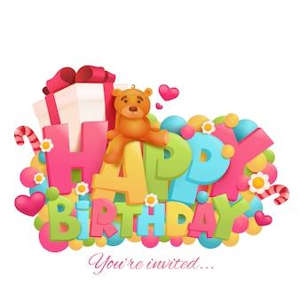 Verjaardagskaart met teddybeer en geschenkdoos.