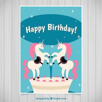 Verjaardagskaart met twee eenhoorns