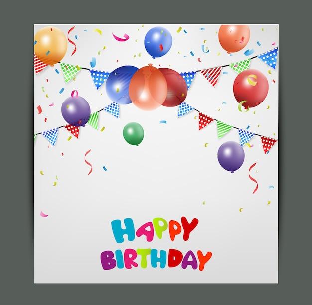Verjaardagskaart ontwerp met kleurrijke ballonnen