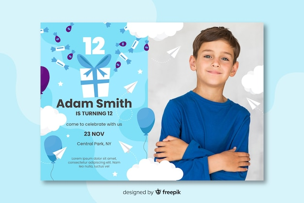 Verjaardagskaart uitnodiging voor jongens sjabloon