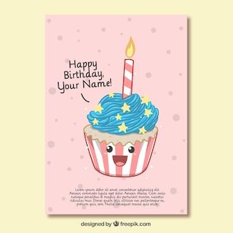 Verjaardagskaart van leuke cupcake