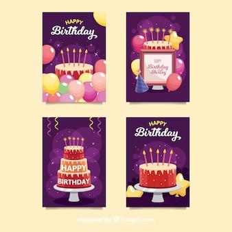 Verjaardagskaart verzameling van vier