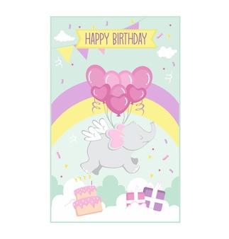 Verjaardagskaart vliegende olifant baloons