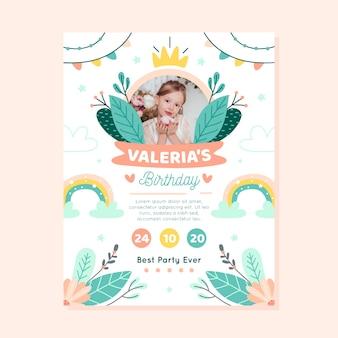 Verjaardagskaart voor kinderen / uitnodiging sjabloon met foto