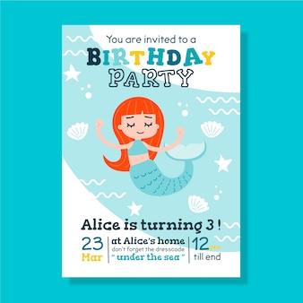Verjaardagskaart voor kinderen / uitnodiging sjabloon met zeemeermin