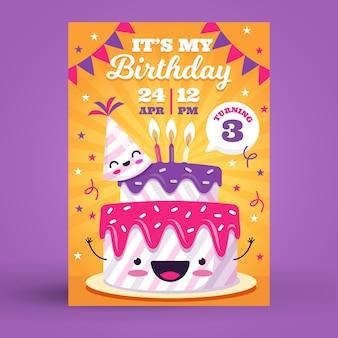 Verjaardagskaart voor kinderen / uitnodiging sjabloon