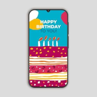 Verjaardagskaart voor smarthphone-snijdersstijl
