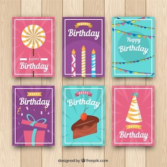 Verjaardagskaarten collectie in vlakke stijl