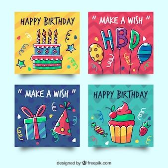 Verjaardagskaarten collectie met feestelijke elementen