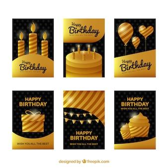 Verjaardagskaarten collectie met gouden design