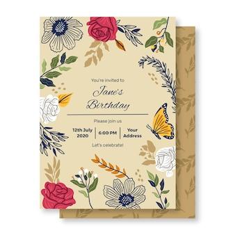 Verjaardagskaartsjabloon met bloemenornamenten
