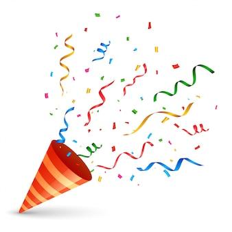 Verjaardagskap met confetti en serpentine-explosie