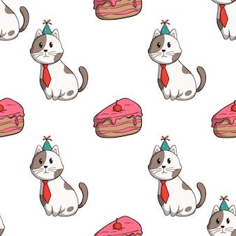 Verjaardagskat met plakcake in naadloos patroon met gekleurde krabbelstijl op witte achtergrond