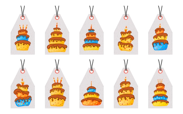 Verjaardagslabels voor vakantieartikelen met taarten. cartoon-stijl. vector.