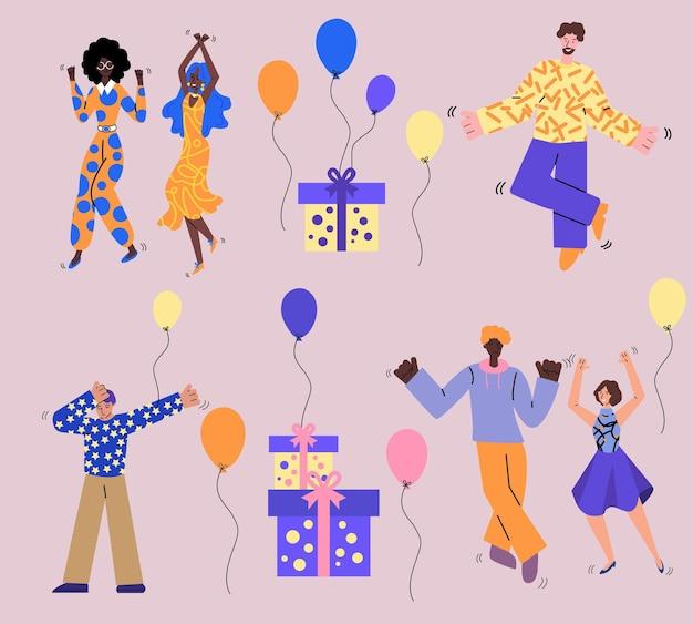 Verjaardagspartij met mensen en geschenken schets illustraties geïsoleerd